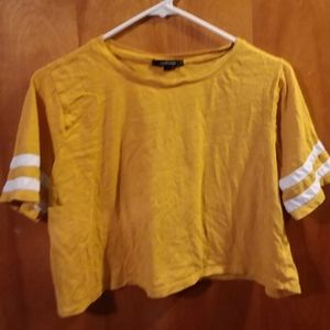 Yellow Crop T-shirt With Two White Stripes.